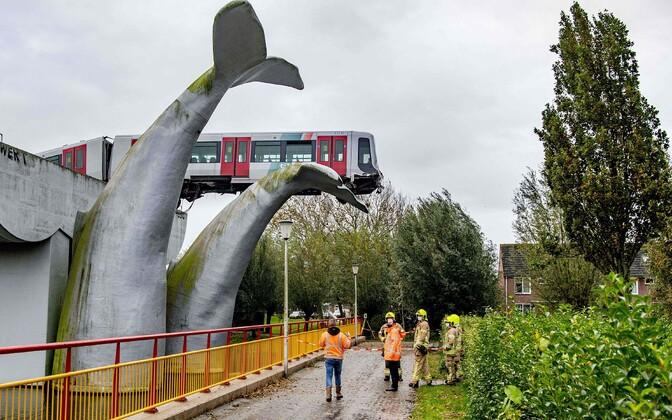 Скульптура кита не дала поезду упасть.