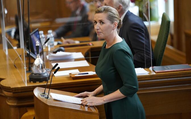 Taani peaminister Mette Frederiksen 6. oktoobril parlamendis kõnet pidamas.