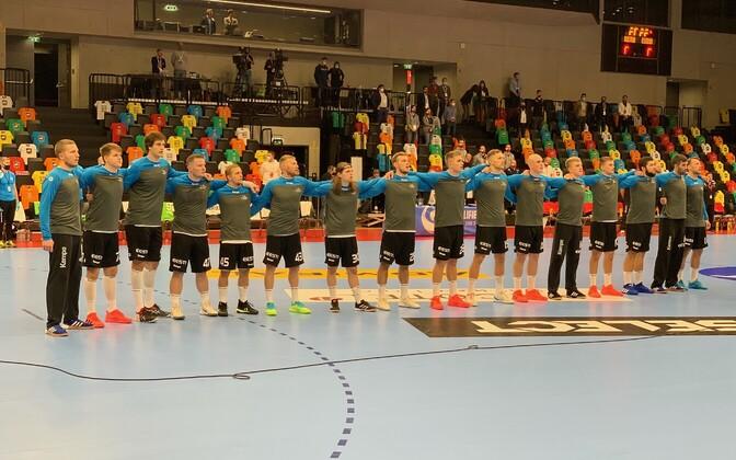Eesti käsipallikoondis enne EM-valikmängu Austriaga.