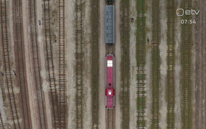 Aerial view of freight traffic on Eesti Raudtee lines.