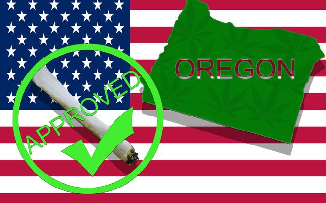 Plakat Oregonist, kui seal 2016. aatsal kanep legaliseeriti.