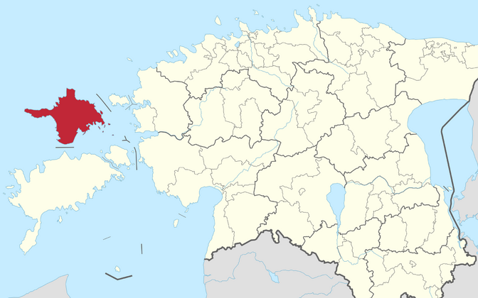 Hiiu County marked in red.