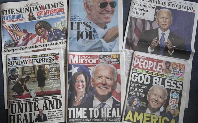 Valik Suurbritannia ajalehtede esikülgi, mis teatavad Joe Bideni võidust