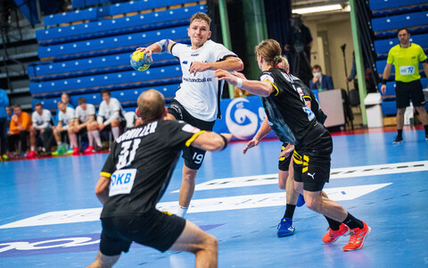 Estonia and Germany in action in their first match in January.