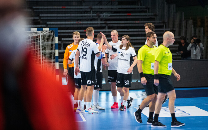 Estonian national handball team in a qualifier match played against Germany.