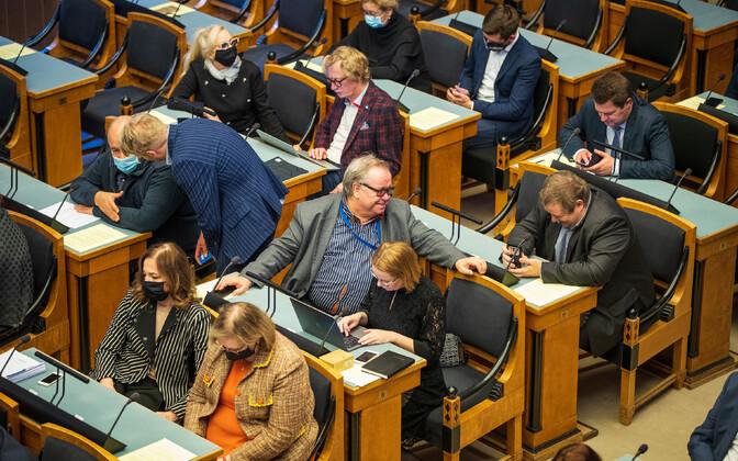 Riigikogu sitting in progress.