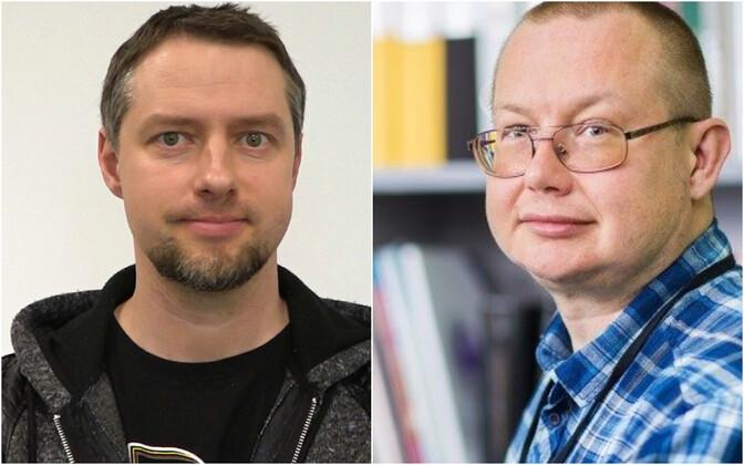 Tartu Ülikooli teadusarvutuste keskuse konsultant Ülar Allas ja Tartu Ülikooli antimikroobsete ainete tehnoloogia professor Tanel Tenson.