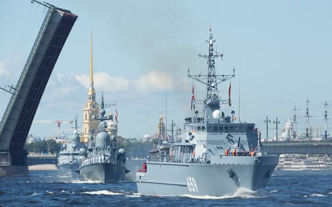 Vene sõjalaevad Peterburis.