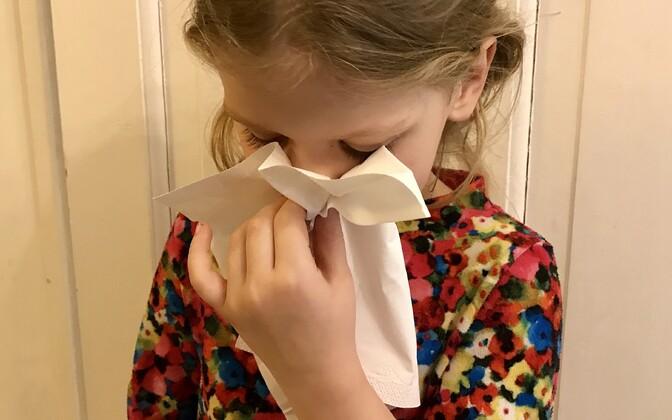 При риновирусных инфекциях характерны насморк, чихание, иногда боль в горле. У детей может появиться кашель и температура.