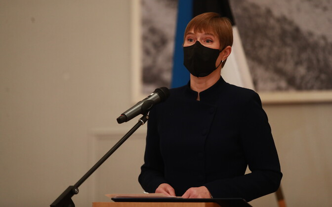 President Kersti Kaljulaid at Monday's press conference, following the National Defense Council meeting.