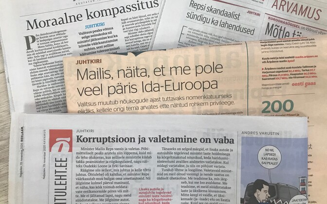 Päevalehtede juhtkirjad Repsi skandaalist.
