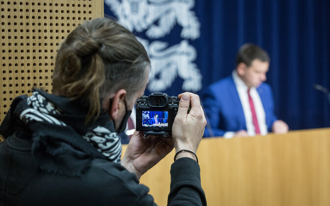 Jüri Ratas at a government press conference.