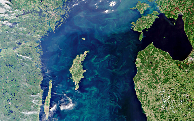 Satellite view of southwestern Estonia, the Gulf of Riga and Latvian coast, the island of Gotland and the Swedish coast.