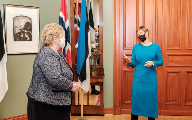 President Kersti Kaljulaid meeting with Prime Minister of Norway Erna Solberg in Oslo on Friday.