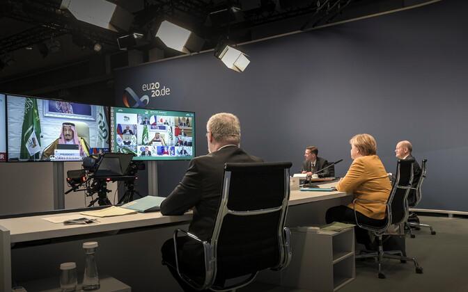Angela Merkel osalemas virtuaalsel G20 tippkohtumisel.