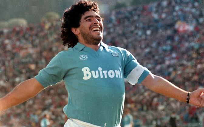 Diego Maradona esindamas Napolit, kelle ridades lõi 81 väravat