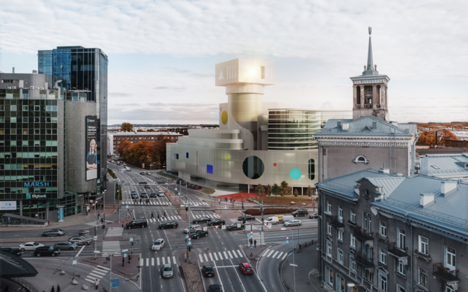 Designs for the building at the intersection of Tartu Road and Pronksi Street in Tallinn.