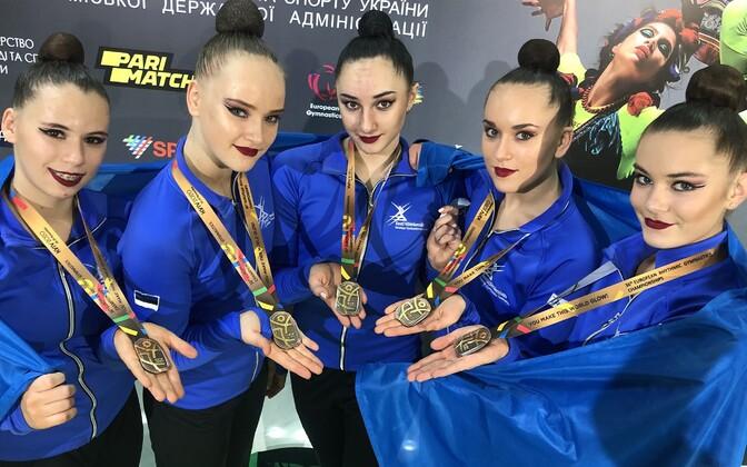 Сборная Эстонии по художественной гимнастике завоевала бронзу ЧЕ.