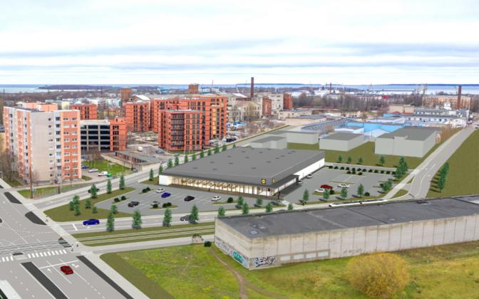 Эскизный проект будущего магазина Lidl на улице Паавли.