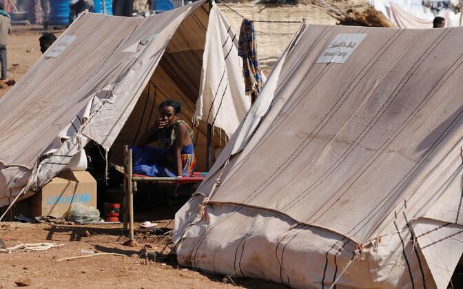 Tigray lahingute eest põgenenud pagulaste laager.
