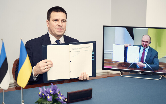 Prime Minister Jüri Ratas (Center) and Ukrainian Prime Minister Denys Shmyhal.