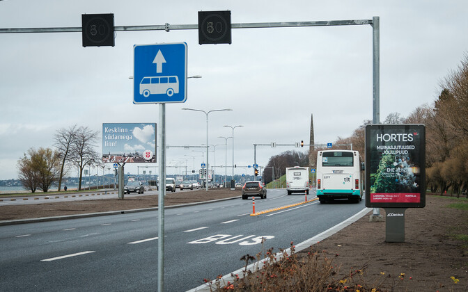 The bus lane on Pirita Road.