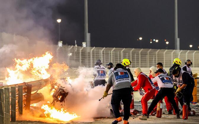 Romain Grosjeani masina vrakk Bahreini GP-l
