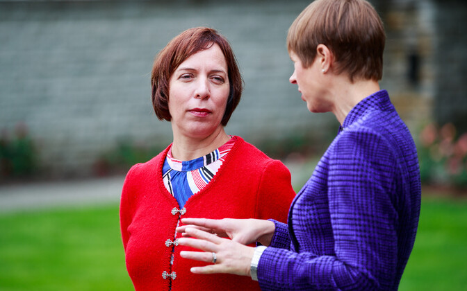 President Kersti Kaljulaid (right) with Mailis Reps, while she was education minister.