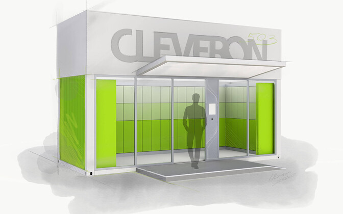 Artist's impression of a Cleveron automated parcel terminal.