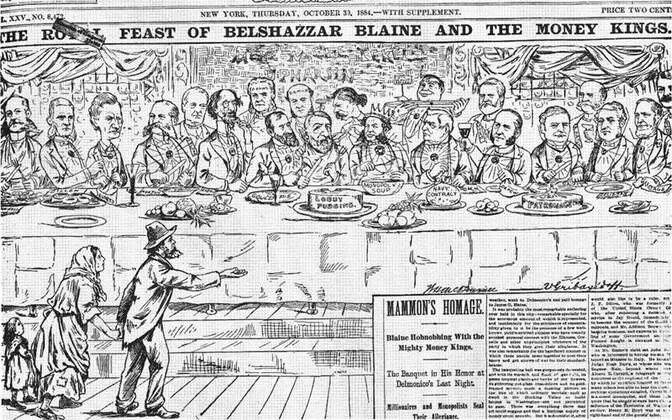 Ajalehe The World 1884. aastast pärinev karikatuur, mis kujutab eliiti almust paluvate kehvikute nina ees prassimas.