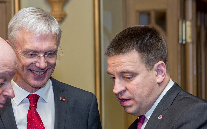 Krišjanis Karinš (red tie) with Jüri Ratas earlier this year.