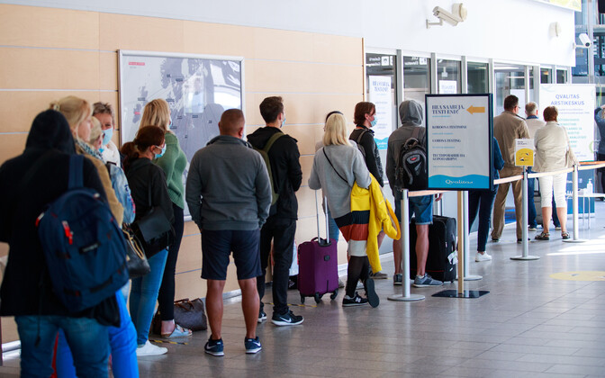 Coronavirus testing line at Tallinn Airport.