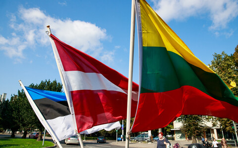 National flags of the three Baltic States, from left, Estonia, Latvia and Lithuania.