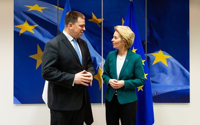 Jüri Ratas meeting European Commission President Ursula von der Leyen in Brussels early this year. Tuesday's meeting was held remotely.