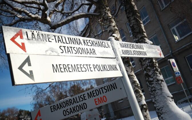 A sign post at West Tallinn Central Hospital.