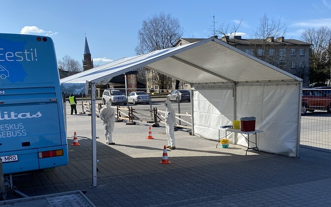 A coronavirus testing tent.