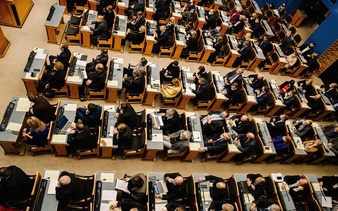 The riigikogu sitting on Monday, December 14, when the marriage referendum bill passed its first reading.