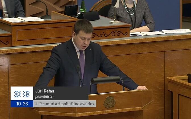 Jüri Ratas in the riigikogu.