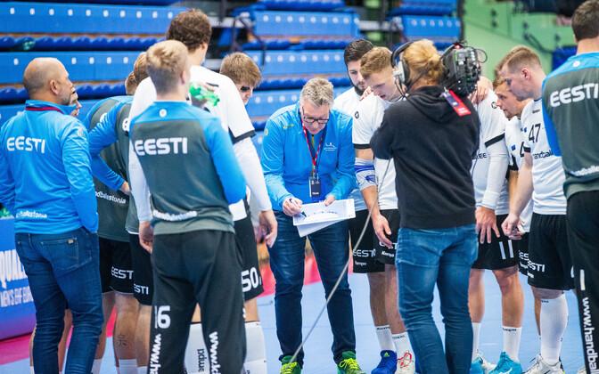 The Estonian men's national handball team led by head coach Thomas Sivertsson.
