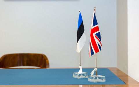 Flags of the U.K and Estonia.