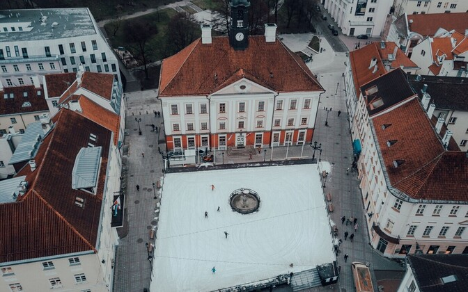 Tartu's Town Hall Square and icerink.