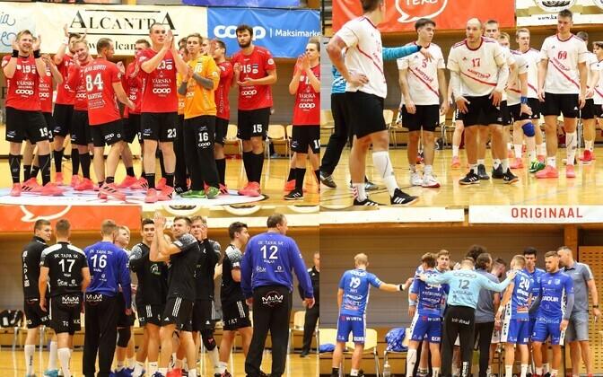 Eesti karikavõistluste poolfinalistid – Põlva Serviti, Raasiku/Mistra, SK Tapa/N.R. Energy ja HC Kehra/Horizon Pulp&Paper.