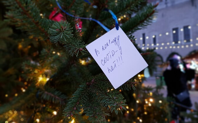 A message of Tallinn's Old Town Christmas tree which says
