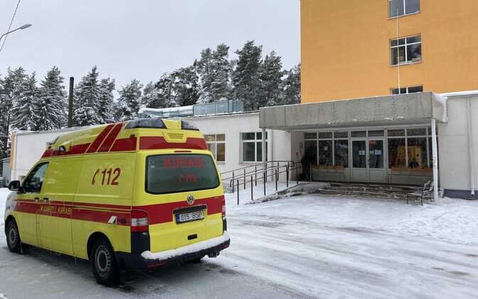 The ambulance outside Imastu Care Home in Lääne County.