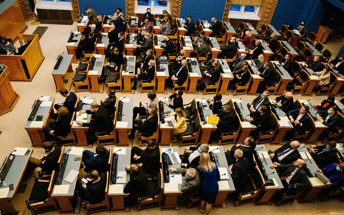 Voting in progress on the referendum bill's first reading at the Riigikogu on December 14.