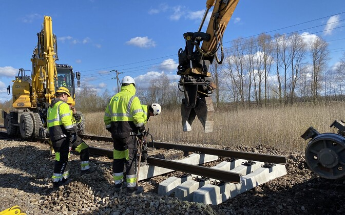 Construction workers working on a rail project. Photo is illustrative.