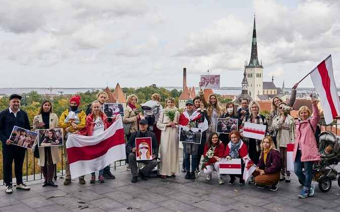Акция поддержки Республики Беларусь в талинне 11 октября.