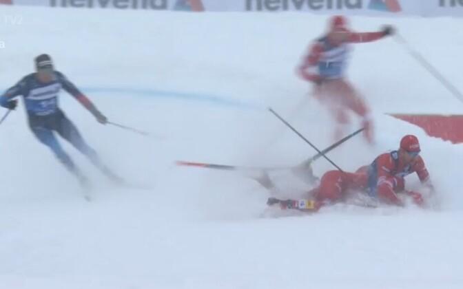 Hetk venelaste kukkumisest Tour de Ski teisel etapil