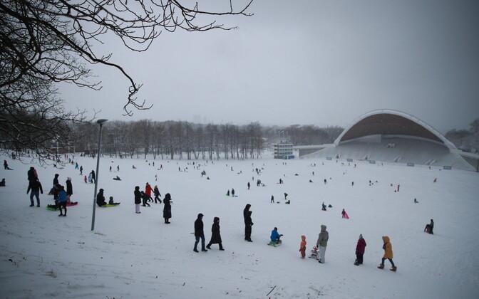 Snow cover in Tallinn on Sunday.