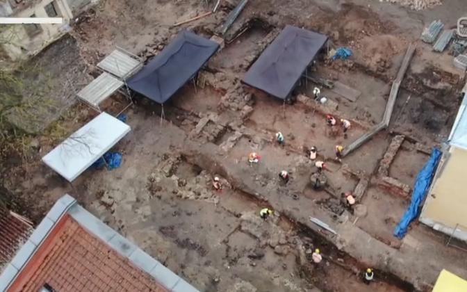 Раскопки на месте строительства нового корпуса ТУ.